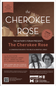 Author's Forum Presents The Cherokee Rose event poster with book cover as background