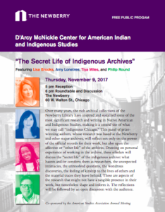 Flyer for the Secret Life of Indigenous Archives