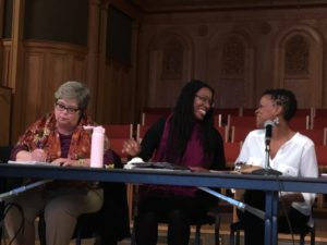 Tiya Miles laughing with panel parcipants